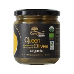 Campomar Nature Organic Queen Olives Stuffed w/ Almonds 350 g. (12.34 Oz)