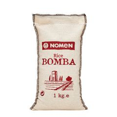 NOMEN Bomba Rice from Ebro Delta, Extra Quality, packed in handcrafted cotton bag 1 Kg /2.2 Lb