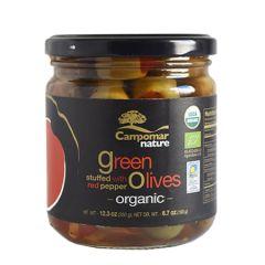 Campomar Nature Organic Green Olives Stuffed w/Pepper 350 g. (12.34 Oz)